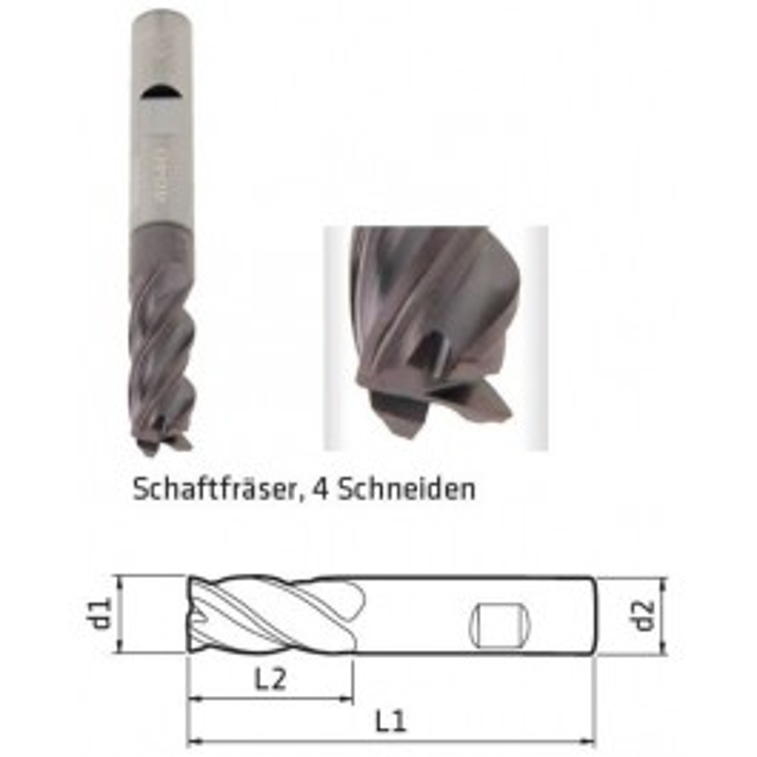 Schaftfräser DM 5mm, 4-Schneiden